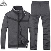 PEILOW new Autumn Winter Sporting Suit Men Set Jacket+Pant Sweatsuit Two Piece Set Men`s cotton sportswear tracksuit Clothing