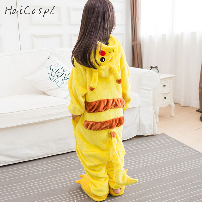 Kigurumi Pikachu Onesie Kids Pokemon Cosplay Costume Lovely Warm Boy Girl Anime Party Disguise Yellow Hooded Suit With Shoes