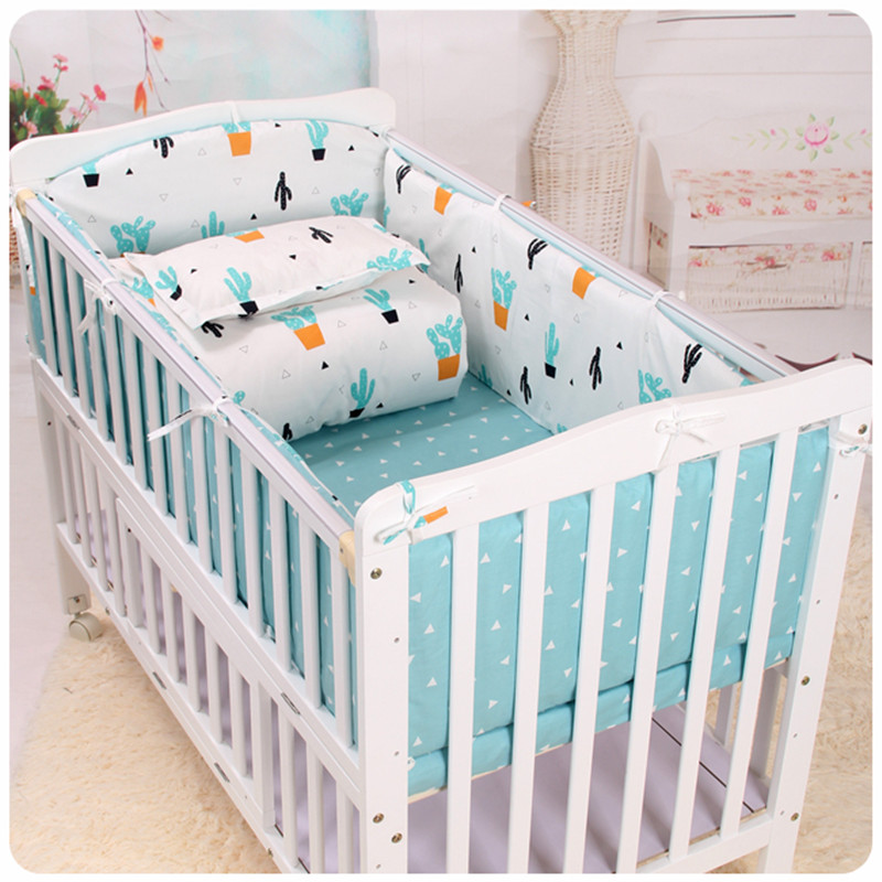 Baby Bedding Set Bumper Cotton Cartoon Skarpetki Print Newborn Washable Bumper Cot Sheet Pillowcase Baby Bed Bedding Set 120*60 contrast striped print bedding set