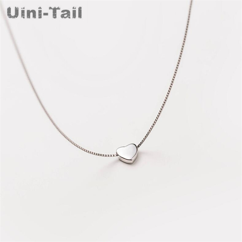 Uini Tail Hot New 925 Sterling Silver Simple Cute Heart Necklace Korean Fashion Tide Flow Small Fresh Set Chain High Quality Aliexpress