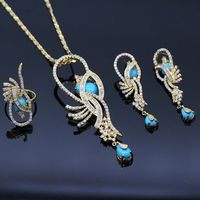 GZJY Luxury Wedding Party Bridal Jewelry Yellow Gold Color Blue Stone Zircon Necklace Earring Ring Set