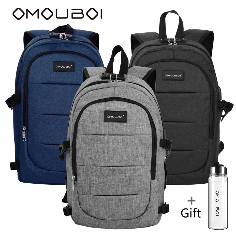 цена OMOUBOI Travel Laptop Backpack Bag Water Resistant College Bags Anti-theft School Backpacks With USB Charging Port For Men Women