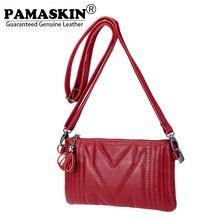 PAMASKIN Women Wristlets Day Clutch Phone Bag 2018 New Arrival Luxury Genuine Leather Female Messenger Bags Ladies Crossbody Bag