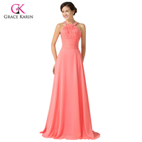 New Grace Karin Real Sample 2014 Watermelon Halter Ball Formal Gowns Evening Wedding Long Party Prom
