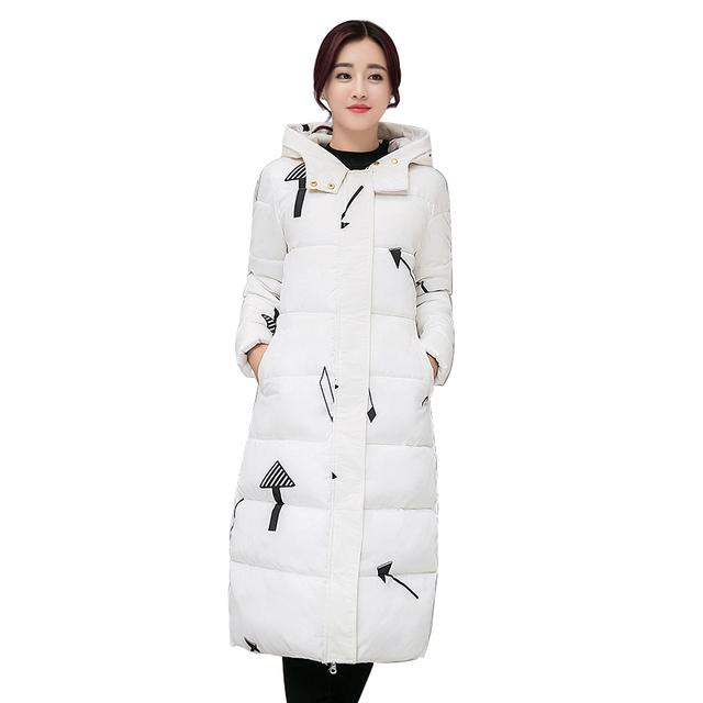 Novo tamanho Grande Casaco de algodão mulheres inverno longa seção Coreano casaco grosso Slim Down jaqueta acolchoada casaco quente das senhoras das mulheres kp1401