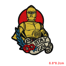 robot Character Fan Stay Gold Patches DIY Applique For Clothing Trousers Bags Stickers Sewing Accessories