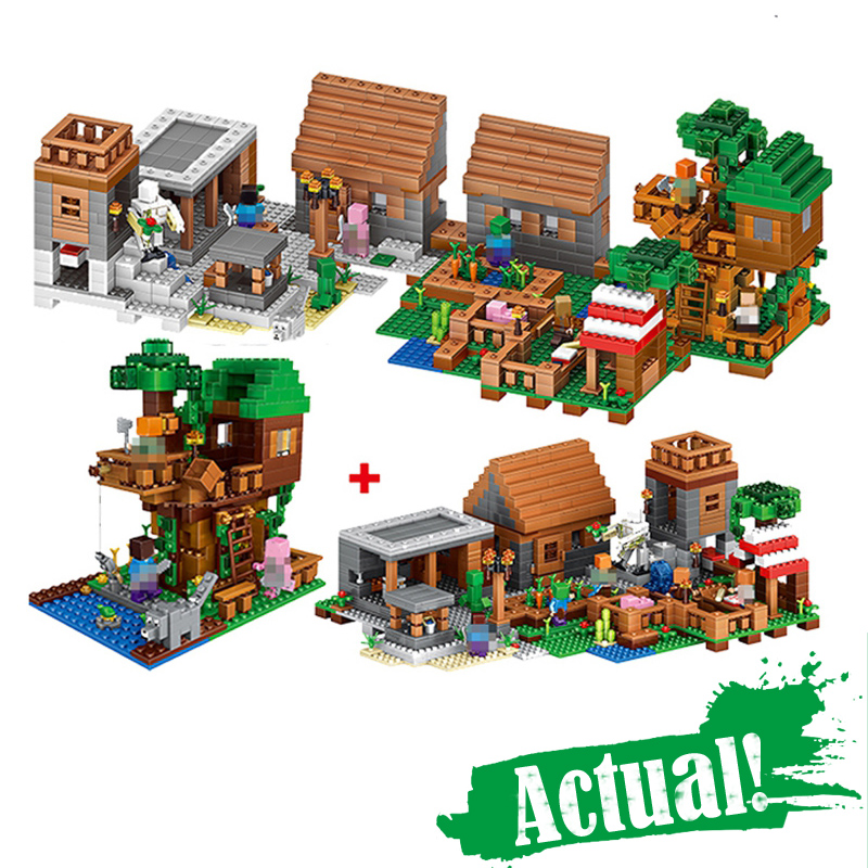 цена LELE 33068 1516PCS My World Minecraft The Village & Jungle Tree House action figures Building Block Bricks Toy For Children Gift