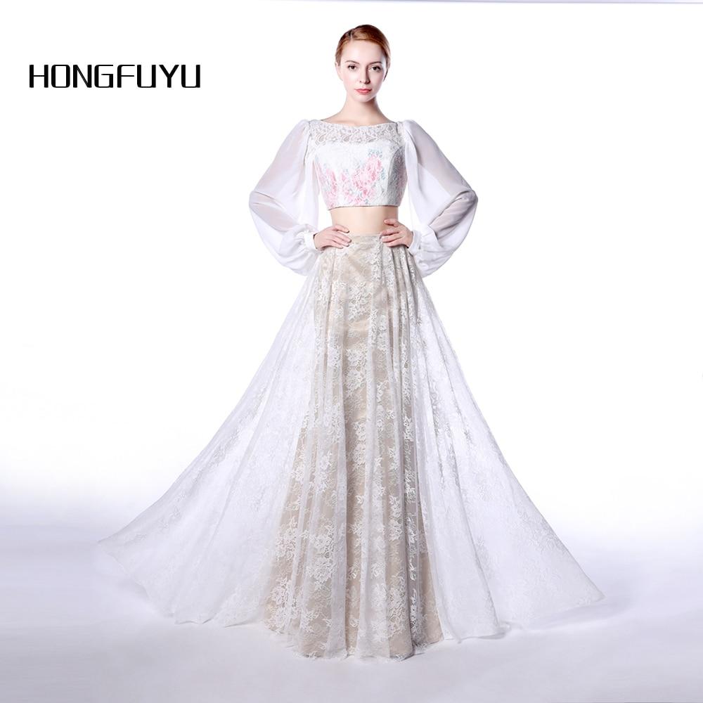 Two Pieces Long Evening Dress Lace Robe De Soiree 2017 Scoop Floor Length Evening Dresses Vestido