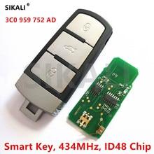Chave inteligente remota do carro completa para vw/volkswagen 3c0959752ad/hlo3c0959752ad para passat/cc/magotan 434 mhz com chip id48
