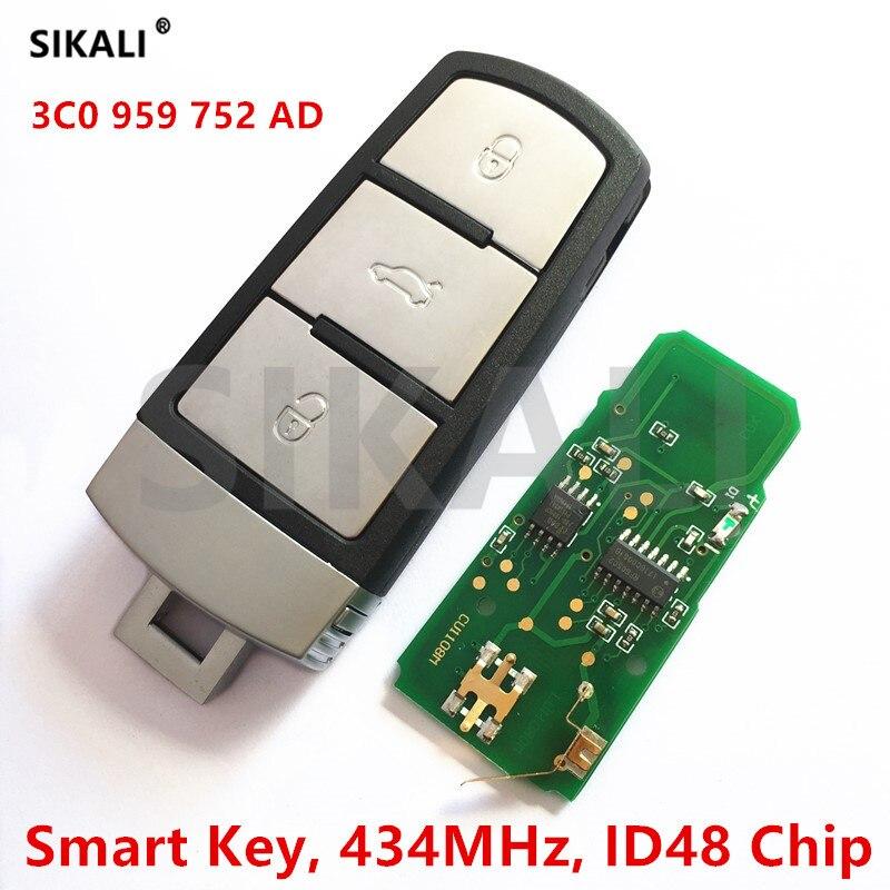 Coche remoto inteligente llave completa para VW/Volkswagen 3C0959752AD/HLO3C0959752AD para Passat/CC/magotan 434 MHz con ID48 chip