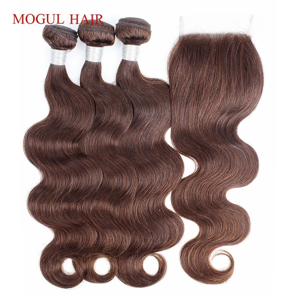 MOGUL HAIR Color 4 Chocolate Brown Body Wave Bundles With Closure 2 3 Bundles With Closure