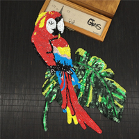 3pc 36x23cm Sequin Applique Parrot Patches For Clothing Clothes Appliques Parches Bordados Patch Beaded Stickers DIY