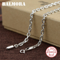 BALMORA 100% Real 925 Sterling Silver Jewelry Chains Necklaces for Men Thai Silver Necklace 18 32 inch Accessories Gifts 0096