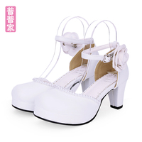 Princess sweet lolita shoes Spring and autumn retro shoes original round head bead flower accessories soft sister shoes pu8959