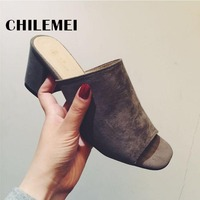 Summer Woman Leather Sandals Woman Casual Shoes Platform Slides Thich Mid Heel Open Toe Flip Flop