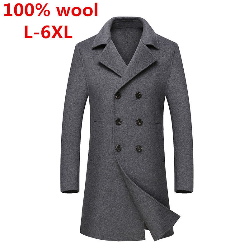 2017 100% laine nouvelle laine veste et manteau hommes décontracté coupe-vent mode solide long double boutonnage gris manteaux grande taille L-6XL