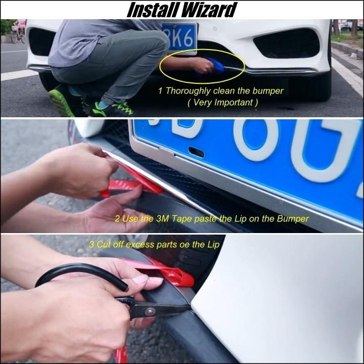 Bumper Lip Deflector Lips For Car Front / Rear All Sides Spoiler Lip Spliter Valance Car Tuning View / Body Kit / Strip Karachi