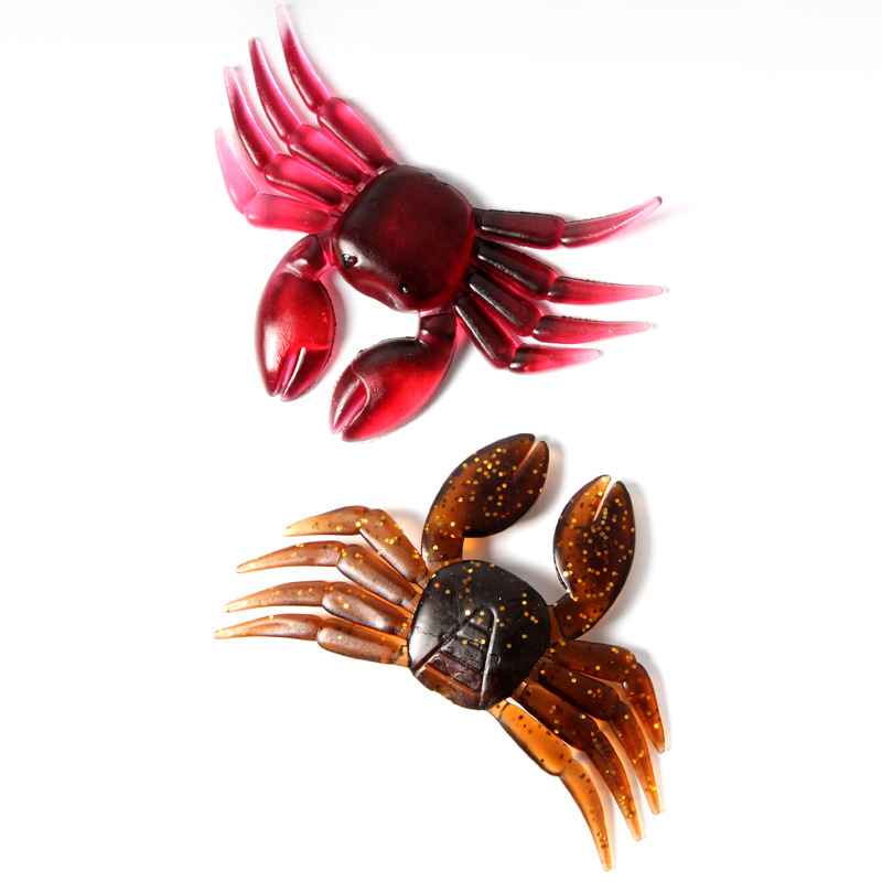 5Pcs/lot 7g 8cm Soft Artificial Crab Lure Bait 3D Simulation Fish Jigging Fishing Lures Tackle Fake Red Brown