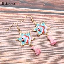 Rttooas DIY Flamingo Earrings for Women Handmade Woven MIYUKI Delicas Seed Beads Gifts