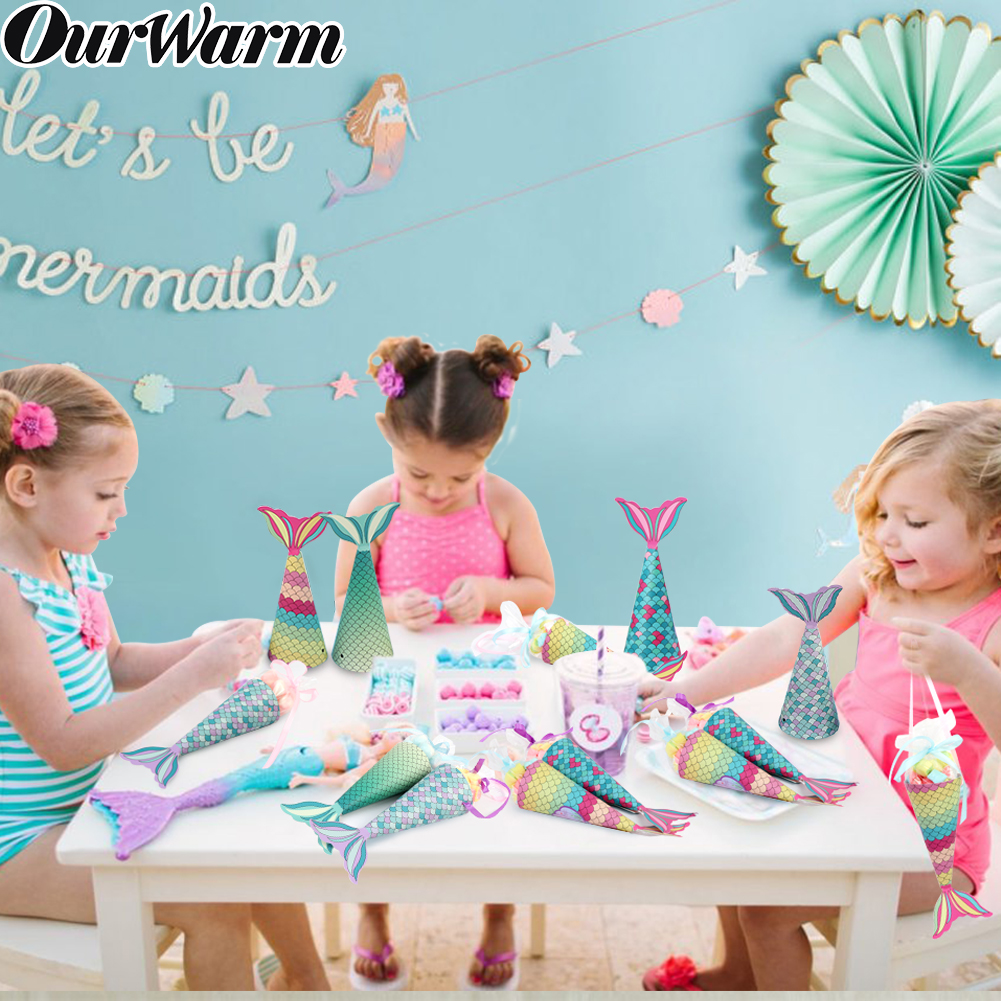 OurWarm 48/50pcs Mermaid Candy Gift Bags Paper Birthday Party Theme Kids Boxes Under The Sea Decor