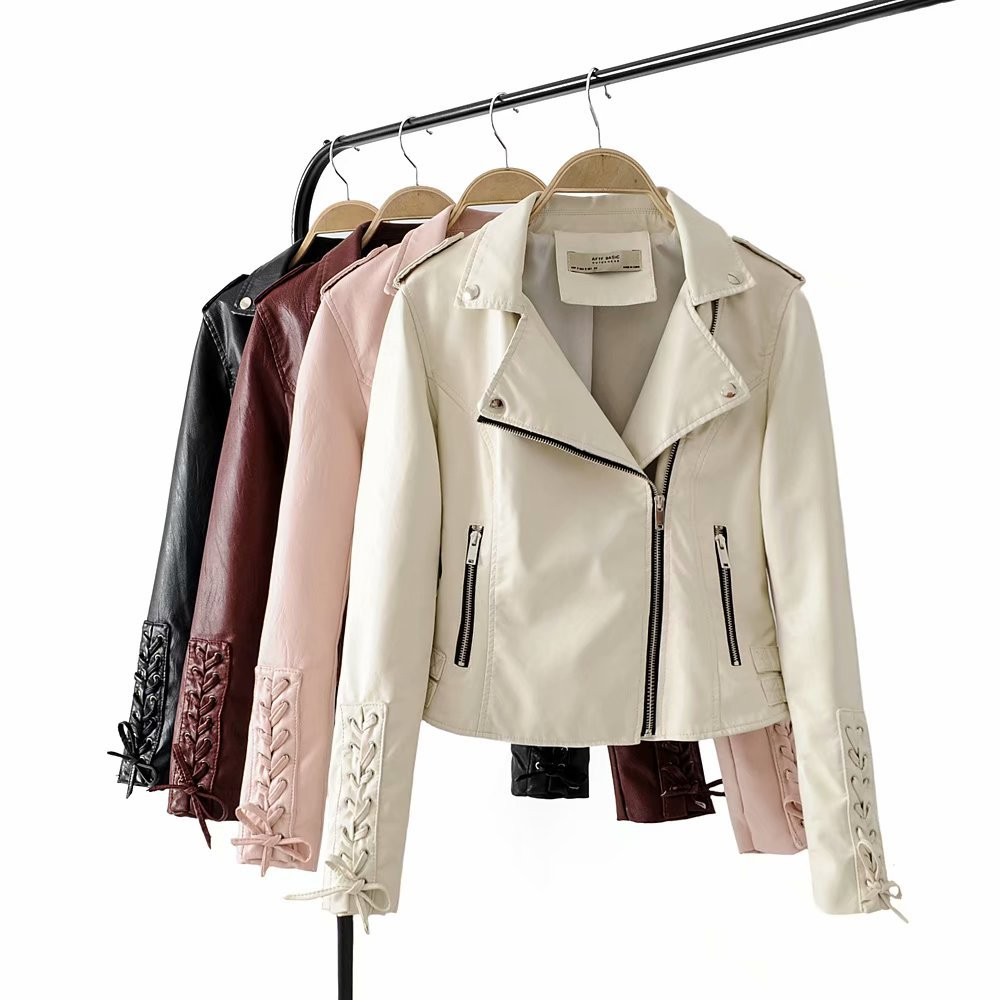 Women Fashion Faux   Leather   Jacket Steetwear Female Short Jacket   Leather   Coat Motorcycle Turn Collar Slim Sleeve Lacing Jackets