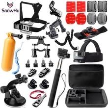 цена на SnowHu Action Camera Accessories Set Kit for gopro hero 8 7 6 5 4 3 mount for SJCAM for SJ4000 for xiaomi yi 4k for eken h9 GS32