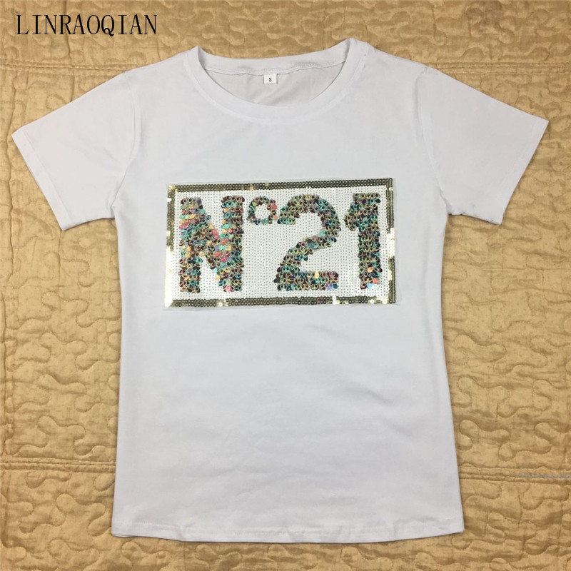 Fashion N 21 Colours Sequin Cotton T Shirt Women Summer Top Short Sleeve  O-neck 79ae00d384ca