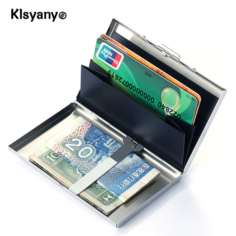 Klsyanyo Stainless Steel Silver Metal Bank ID Card Case Box Men Women Business Credit Card Holder Case Cover wallet women men business name superior quality id credit card candy color protector leather wallet card holder package box a dropship