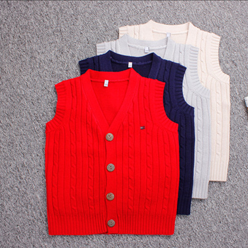 New Autumn 1 7y Baby Sweater Vest Pattern V Neck Single Breasted