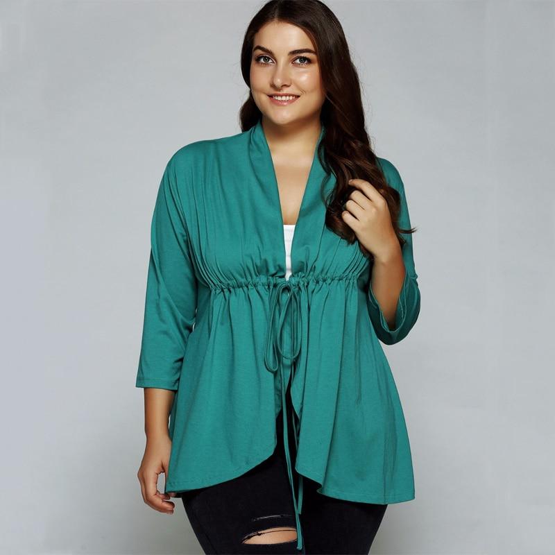 Large size 2018 summer blouses women green 3/4 Sleeve Shirt