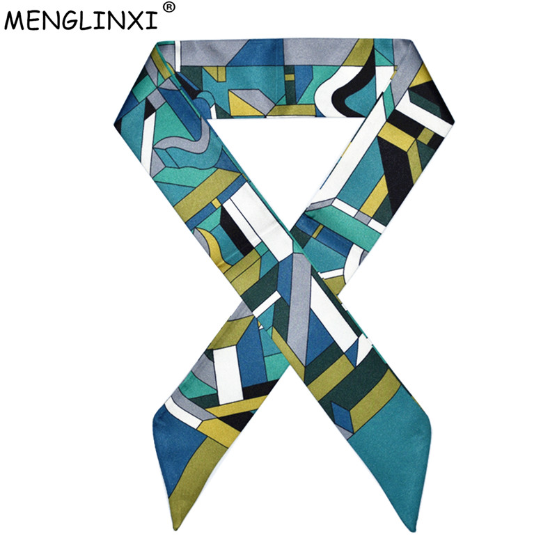 2020 New Luxury Brand Foulard Women Silk Scarf Fashion Geometric Plaid Head Scarf For Women Bag Becoration Scarves Silk Tie