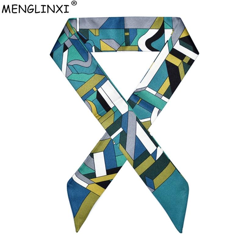 2020 New Luxury Brand Foulard Women Silk Scarf Fashion Geometric Plaid Head Scarf For Women Bag Becoration Scarves Silk Tie