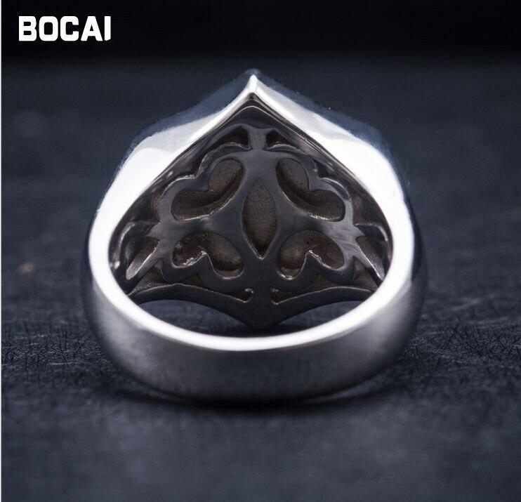 Retro 925 sterling silber krone schild schwarz ring täglichen wilden männlichen schwarz punk stil - 4