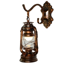 Bronze Creative Retro Lanterns Personality Kerosene Iron Bar Cafes Cafe Wrought Wall Lamp