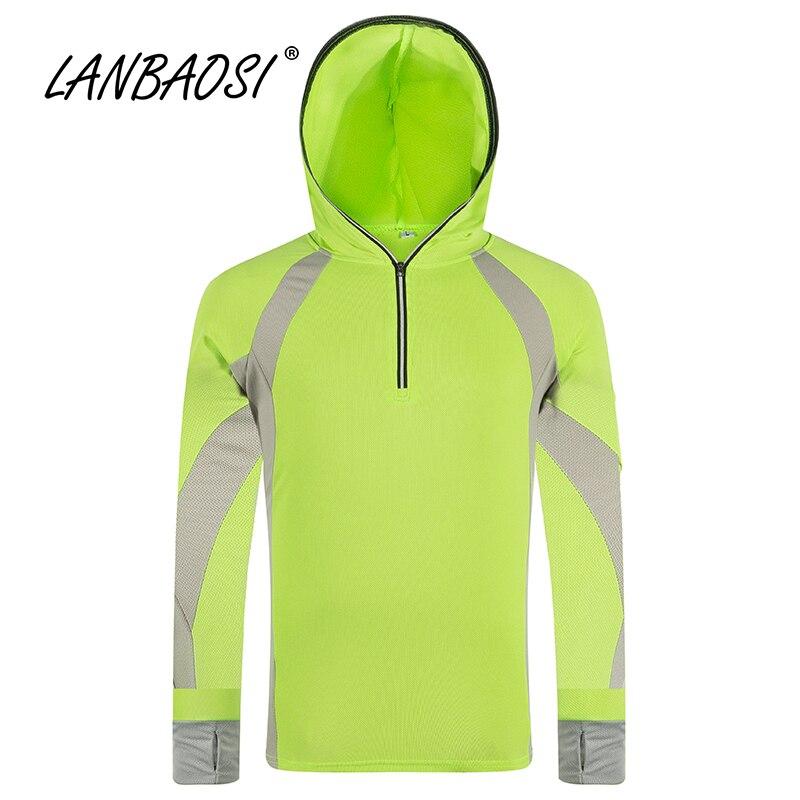 LANBAOSI Защита от солнца УФ-защита Рыбалка Костюмы для Для мужчин быстросохнущая футболка с длинными рукавами куртка с капюшоном дышащий Туризм Куртка Одежда