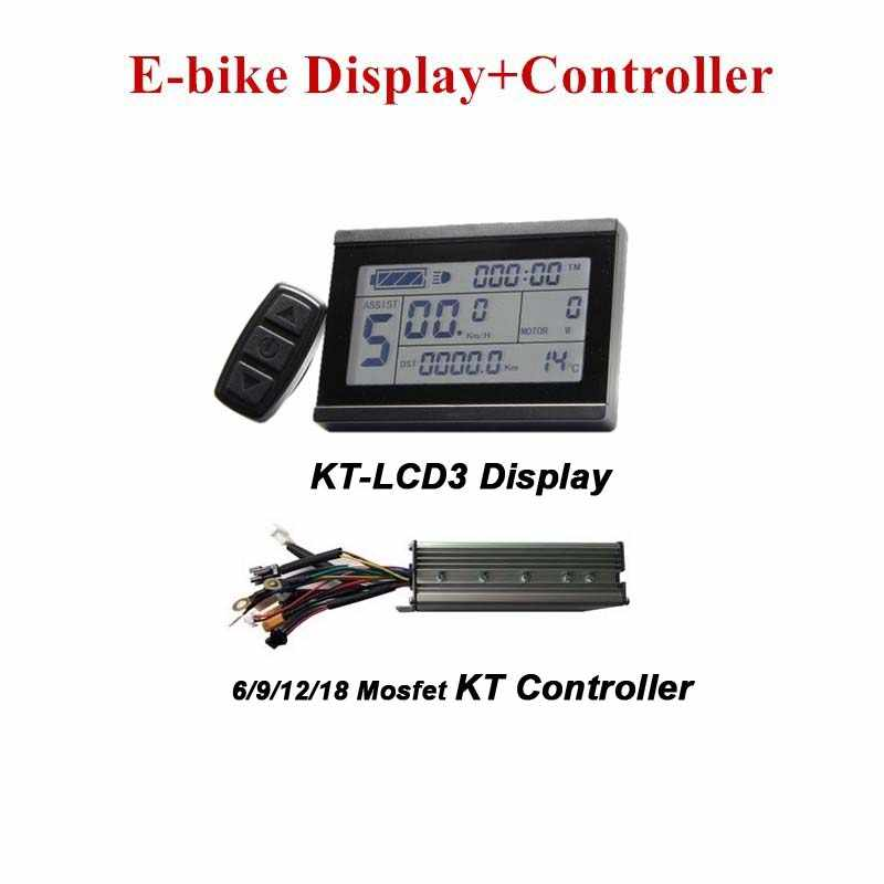 E-bike Display KT-LCD3 and Electric Bicycle Controller KT Controller E-bike Conversion Parts 6/9/12/18 Mosfet Controller
