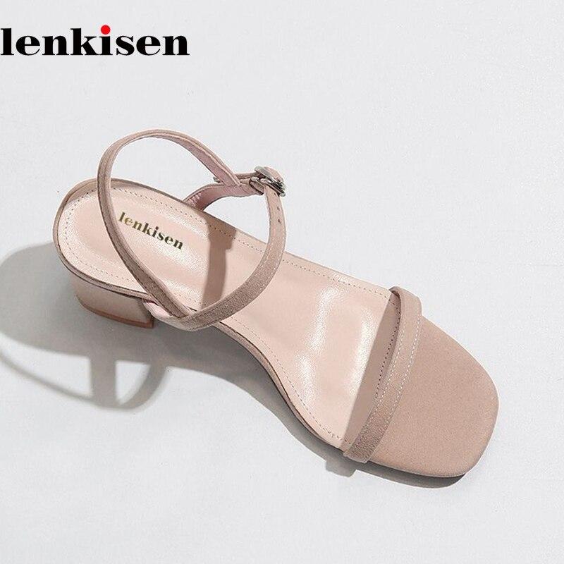Lenkisen vintage new arrival sheep suede women sandals open toe slip on mules superstar daily wear high heels summer shoes L77