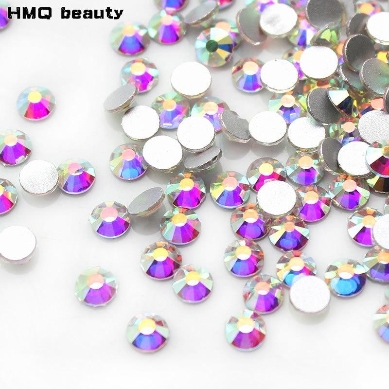 Kiváló minőségű 1440db tiszta AB körömlakk strasszos körmökhöz 3D manikűr dekoráció fényes, nem gyorsjavításos síkképernyős kristály