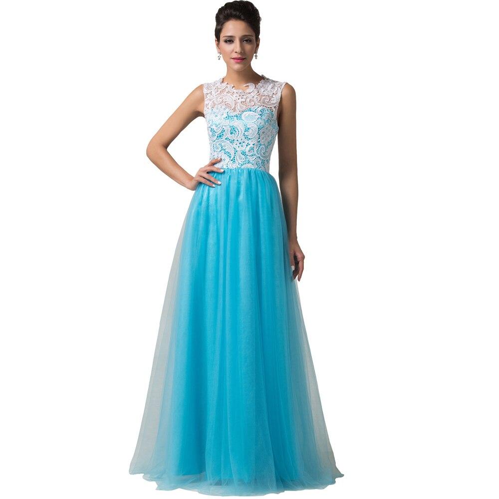 Elegant Grace Karin Sleeveless White+Blue Lace Tulle Long Evening ...