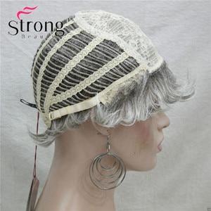 Image 5 - Strongbeauty curto em camadas cinza prata shag clássico boné peruca sintética completa