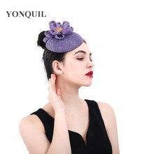 цены Light purple Fascinator hat Elegant women Fashion wedding hat bridal married church fedora lady formal dress hair accessories