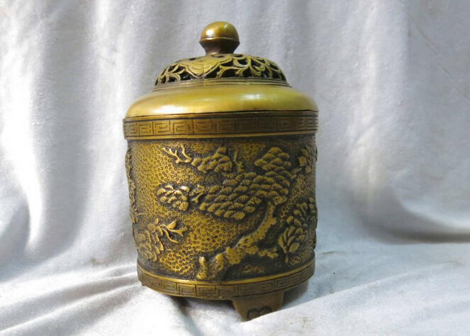 "wholesale factory 6"" China pure brass copper censer carved pine tree incense burner Statue"
