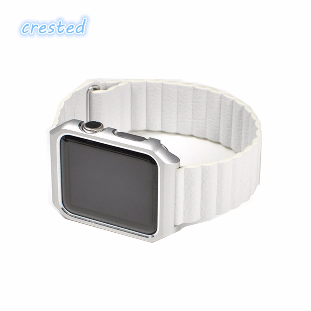 все цены на  CRESTED Leather Loop strap for apple watch band 42mm 38mm & Stainless Steel Metal Case Magnetic Leather Band for iWatch 1 2 3  онлайн