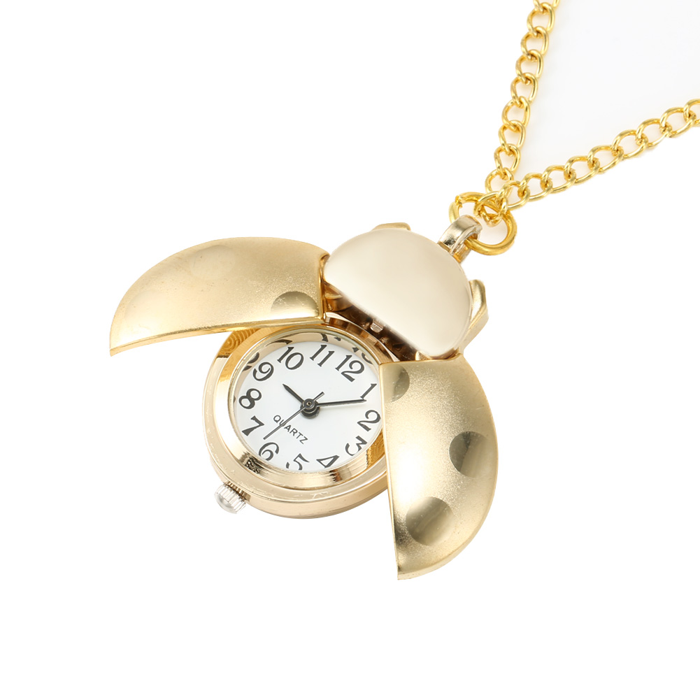 Retro Gold Cute Beetle Quartz Pocket Watch Mechanical Pendant Necklace Chain Clock Gifts NGD88