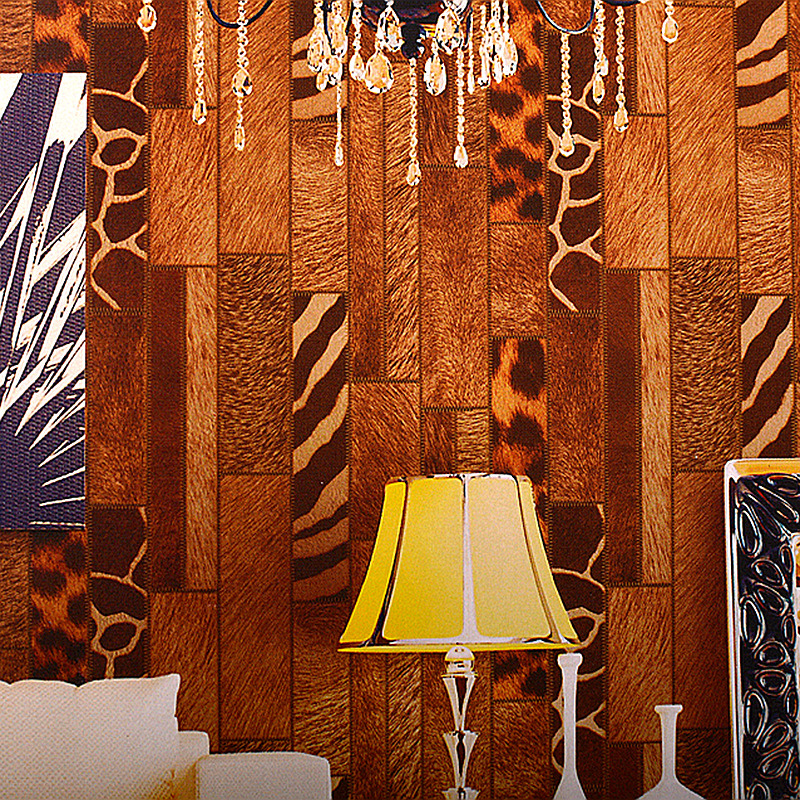 Vintage Style Wallpaper Designs Wood Grain Wall Paper Retro Coffee Shop Leopard Print Wallpapers Vinyl Bar