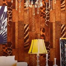 Винтажный Стиль Дизайна Обоев Древесины Обои Ретро Кафе Леопардовый Обои Виниловые Бар Обои для Стен