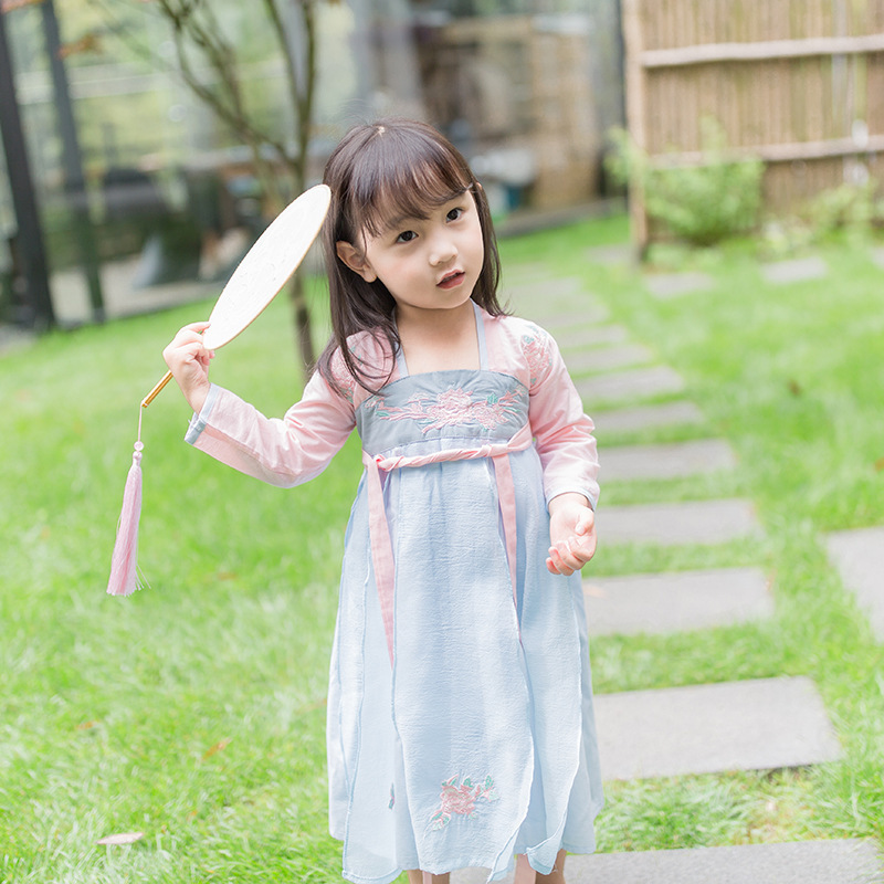 Chinese Style Autummn Spring Floral Princess Girls Dresses Vintage Embroidery Dress For Toddler Girl Long Sleeve Baby Clothing