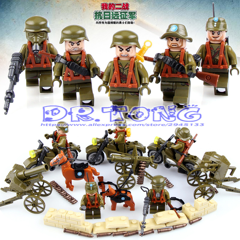 DR.TONG World War 2 Military Chinese Army Mini Soldiers Figure with Motorcycle Horse Brick Building Blocks Bricks Toys D71005