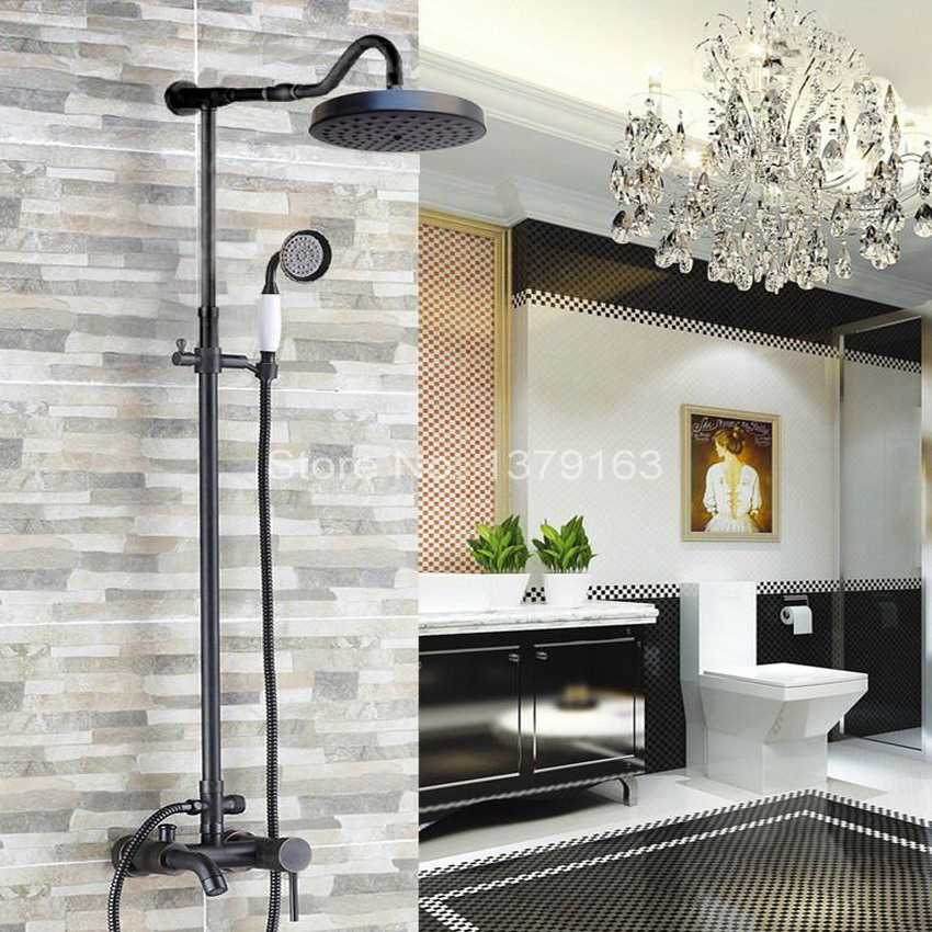 Black Oil Rubbed Brass Rainfall Shower Set Wall Mounted Bath Tub Faucet Mixer Taps Handheld Shower Head ars608