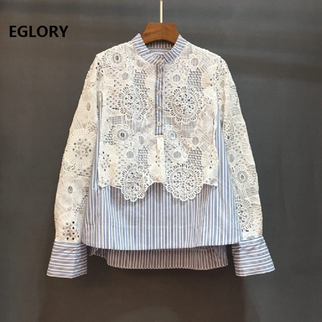 High Quality Brand New Blouse Women Hollow Out White Lace Embroidery Blue Striped Print Patchwork Long Sleeve Shirt Blusas 2019